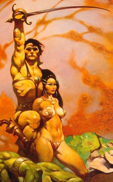John Carter with Dejah Thoris by Frank Frazetta