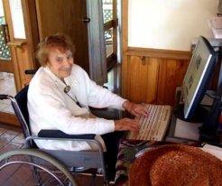 Olive Riley at the computer 108yo