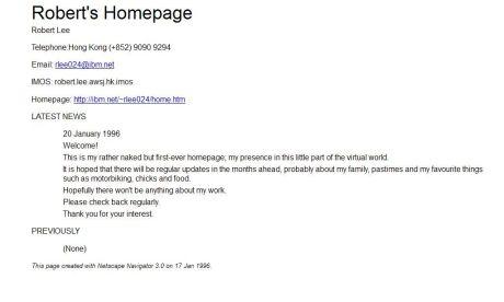 roberts homepage 20 jan 1996
