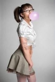 schoolgirl with gum 123rf