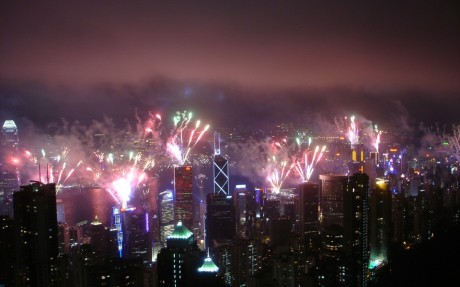New Year's fireworks in Hong Kong, 01 Jan 2014, via WallWideHD.com