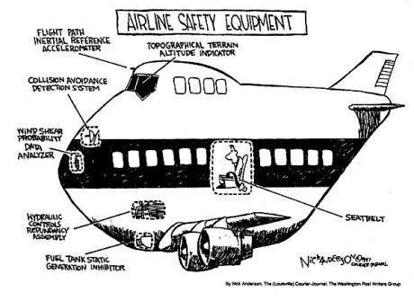 cartoon airline safety equipment via autothrottle.com