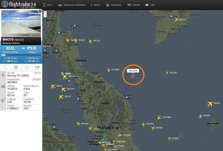 MAS Flight MH370 via Flightradar24.com