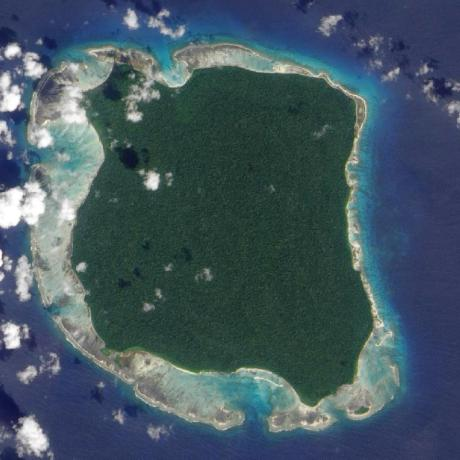 North Sentinel Island in the Andaman Islands, Bay of Bengal, via Wikipedia