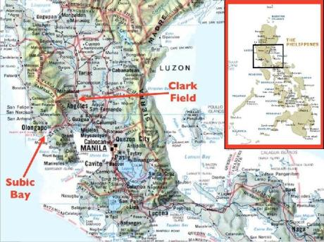 Map of former bases in Subic and Clark