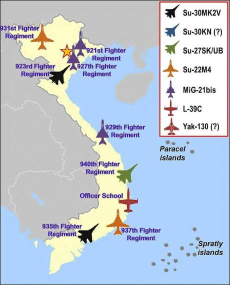 Vietnam People's Air Force regiments map (Wikipedia)