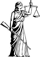 lady justice blind with rifle