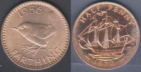 farthing 1956 and halfpenny 1970