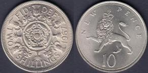 florin 1967 and 10p 1971