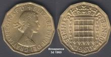 Threepence 3d 1960 - 'thrupp'nce'