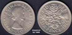 Sixpence 6d 1966 - 'sixp'nce'