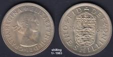 Shilling 1/- 1963 - the 'bob'