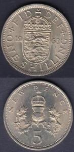 shilling 1963 and 5p 1968 v