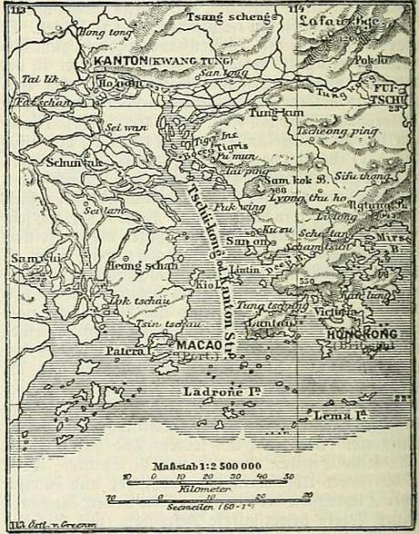 Situationskaertchen von Kanton, Makao und Hongkong via wikipedia