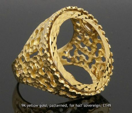 9K yellow gold patterned half sovereign ring mount GBP 149
