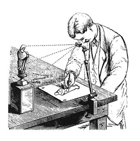 camera lucida in use drawing small figurine