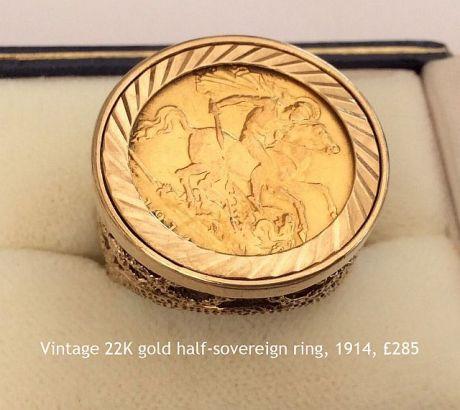 vintage solid 22k gold half sovereign ring 1914 GBP 285